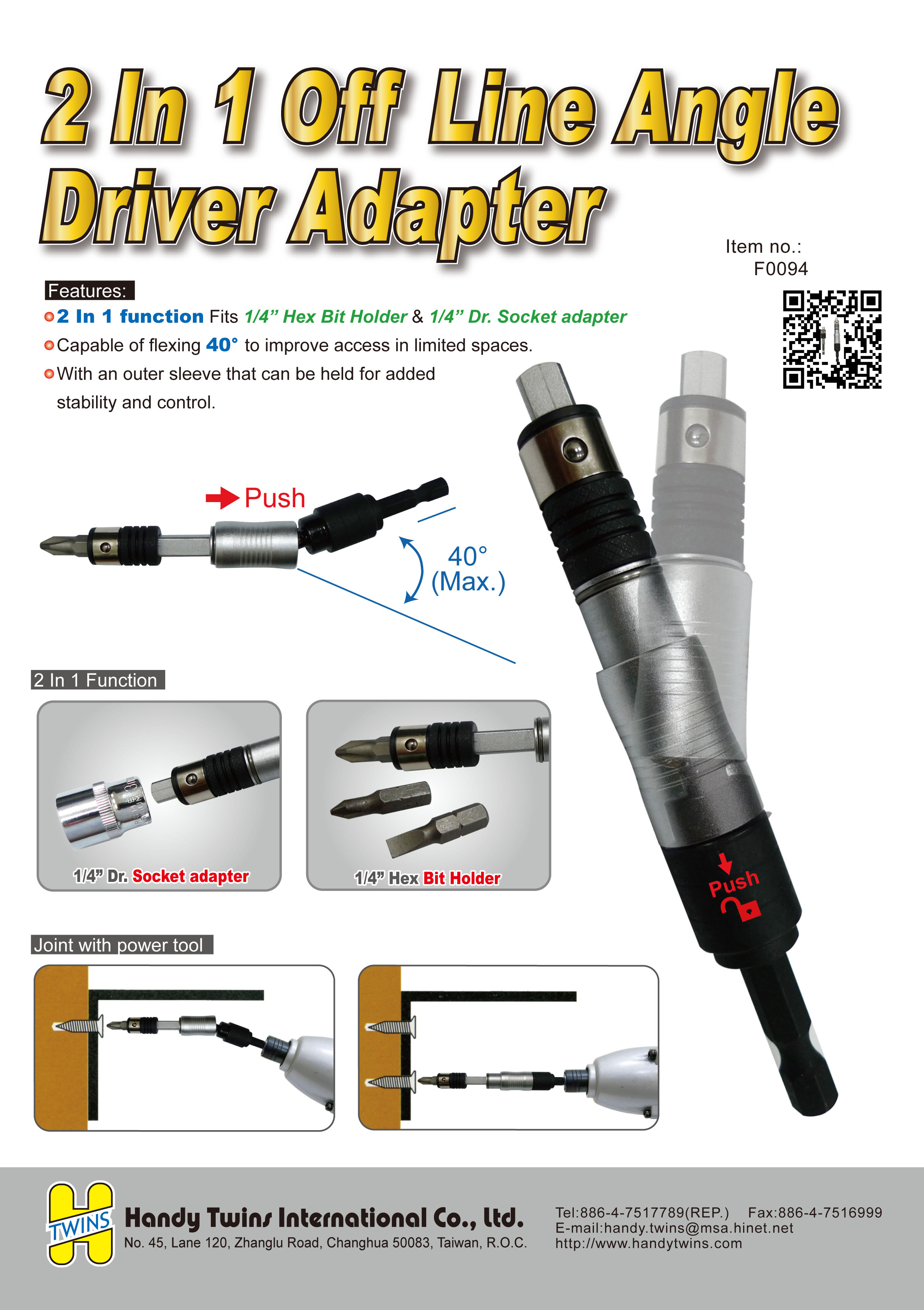 F0094-2 In 1 Off Line Angle Driver Adapter